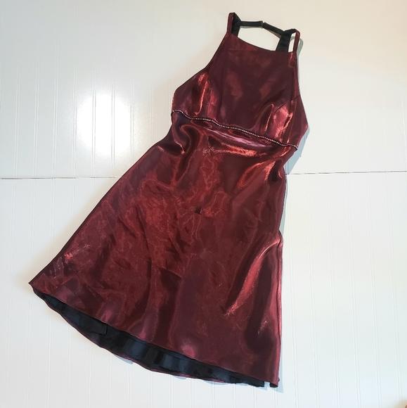 90s salmon bow back princess mini dress S